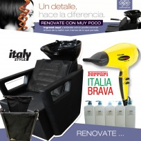 1 Lavacabezas Full Massage Con Masajeador TeknikStyle + 1 Secador de Pelo Profesional Italia Brava con motor Ferrari Babyliss Pro + 3 Shampoos x 1.500 ml Salón Essentials + 2 Acondicionadores x 1.500 ml Salón Essentials + 1 Módulo Ayudante
