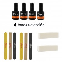 4 Esmaltes Semipermanentes On Off + 6 Limas y 2 Bloque