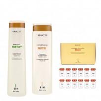Shampoo x250ml + Acondicionador x200 + Ampollas  Kin Linea Española