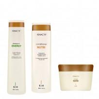 Shampoo x250ml + Acondicionador x200ml + Máscara 200ml Kin Linea Española