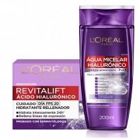 Pack Cuidado Facial Agua Micelar + Crema Hialurónico Loreal