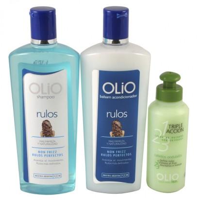 Pack OLIO Rulos: Shampoo + Acondicionador + Crema de Peinar